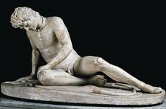 Galata Morente or Dying Gaul (1st or 2nd century AD) - Roman marble copy of a lost Hellenistic bronze sculpture created by Epigonus of Pergamum between 230 and 220 BC. This had been commissioned by Attalus I of Pergamum to celebrate his victory over the Galatians (Gauls of Anatolia). It portrays a warrior with Celtic hairstyle, moustache and neck ring. He lies on his fallen shield, with his sword, belt and curved trumpet beside him. - Musei Capitolini, Rome