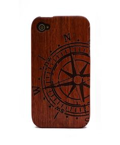 Compass Engraved Rosewood iPhone4/4s Wood Case