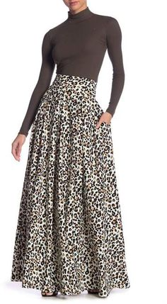 Maxi Skirt Style, Maxi Skirt Outfits, Dress Skirt, Leopard Maxi Skirts, Printed Maxi Skirts, A Line Evening Dress, Evening Dresses, Maxi Pants, Woman Fashion