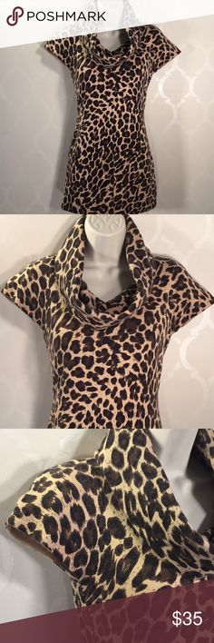 🆕INC LEOPARD PRINT SWEATER INC Sweater ➖ Super Soft! (This Sweater has Angora!) ➖ Short Sleeve ➖Cowl Neck ➖ Great with Leggings & Boots! ➖ Price is cut off tag bc this was a gift ... tag is still attached INC International Concepts Sweaters