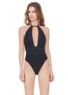52201c87629f0 Gottex Plug Neck Black Suit Swimwear Uk