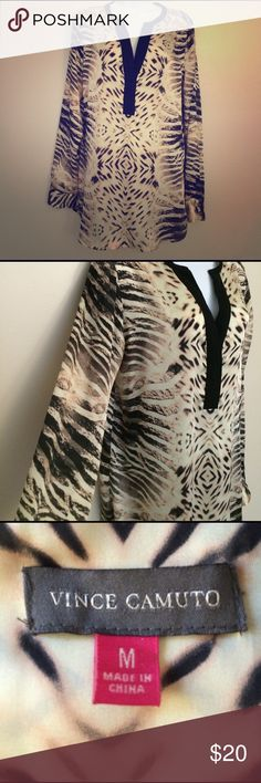 Vince Camuto Animal Print Blouse Beautiful silky material! Fun animal print pattern. Size M. Vince Camuto Tops Blouses