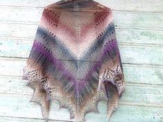 Knitted triangular scarf, wool shawl Smoke, Ash shawl of wool, brown maroon gray shawl natural, free shipping, rustic wedding, bride shawl by LidiaAndVary on Etsy