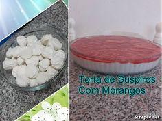 TORTA DE SUSPIROS COM CALDA DE MORANGOS