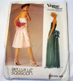 """1980s Strapless evening Gown Cocktail Dress Bellville Sassoon sewing pattern Vogue 1554 Size 10 Bust 32.5""""  UNCUT FF by retroactivefuture on Etsy"""