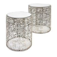 With a rounded cage base in a silver finish, and flat tops made out of sleek mirrored glass, the Evans mirror tables can be used as elegant nightstands or end tables. End Table Sets, Sofa End Tables, Side Tables, Occasional Tables, Console Tables, Dining Tables, Mirrored Accent Table, Accent Tables, Drum Table