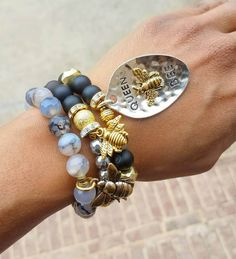 "One of a kind beautiful ""Queen Bee"" beaded gemstone bracelet stack featuring bee charms (on ETSY)."