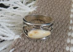 SALE- Elk Ivory Wide Band Ring on Etsy, $135.00