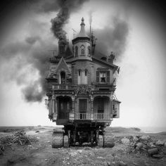 It reminds me of Howl's moving castle--Love it!   #steampunk house
