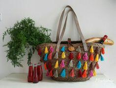 Bunte Basttasche - Handmade Kultur