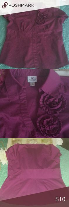 Pretty Worthington blouse EUC....Cotton poly spandex blend.  Cute cap puffy sleeves. Empire style.  Cute forets at v neck Worthington Tops Blouses