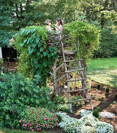 Liking this idea to combine a kids tree house with a trellis for your veggies. Would your vegetables...