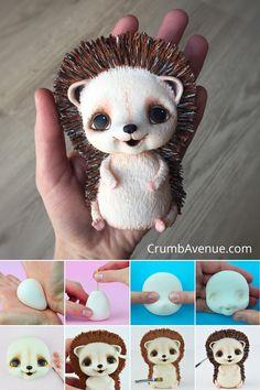 Cute Hedgehog Cake Topper PDF TUTORIAL with TEMPLATES - fondant, gum paste, woodland, adorable, animals, figurine