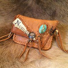 Leather Coin Purse Deer Leather & Gem Stone NomadWorld by NomadWorld on Etsy, ¥20500 #boho