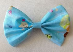 Mermaid on blue fabric wide bow  available in 5 by KatiecraftShack, $3.00
