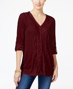 Style & Co. Lace trimmed textured blouse