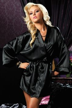 f193dab767 Black Satin Robe - This exquisite Hanging Satin Mid Thigh Length Robe with  Side Pockets and Sash from Seven til Midnight is perfec. Wicked Lace