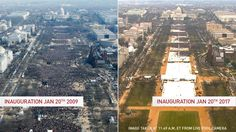 A view of the National Mall during Barack Obama's first inauguration in 2009 and for Donald Trump's inauguration in 2017. Photos by Reuters and Pool Camera. Image has been updated to include time taken.