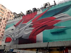 Une nouvelle Oeuvre murale en 3D de Peeta à Hong Kong (1)