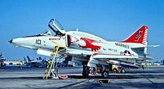 Marines Douglas A-4M Skyhawk of VMAT-102 Squadron at NAS Miramar, CA. 1975