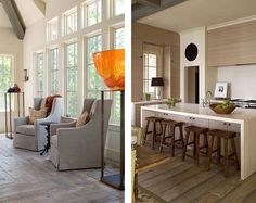 A Truly Livable Show House: Lake Keowee by Beth Webb Interiors Hidden Kitchen, Interior Architecture, Interior Design, Pinterest Home, High Back Chairs, Windows And Doors, Huge Windows, Occasional Chairs, Timeless Design