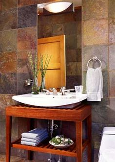 Asian-Influenced Bath with Slate Wall Tile and Teak Vanity -- Better Homes and Gardens Home And Garden, Bathroom Themes, Contemporary Baths, Bathroom Styling, Modern Bathroom, Amazing Bathrooms, Bathrooms Remodel, Bathroom Decor, Tile Bathroom