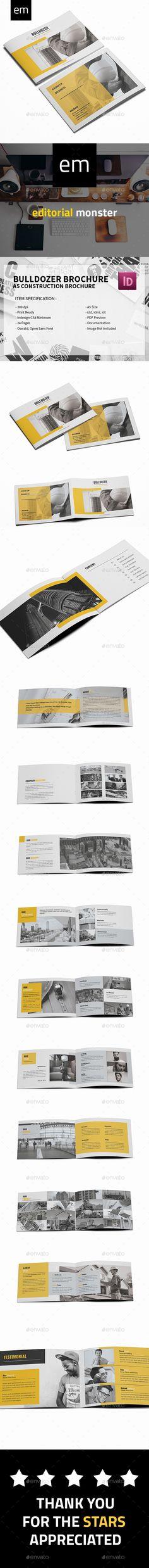 Bulldozer - A5 Construction Brochure Template - #Corporate #Brochures Download here: https://graphicriver.net/item/bulldozer-a5-construction-brochure-template/19514954?ref=alena994