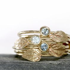 Beautifull! Aquamarine Leaf Ring in 14k Gold