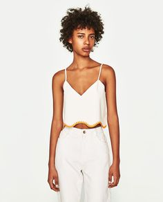 CROP TOP WITH EMBROIDERED HEMLINE-View All-TOPS-WOMAN-SALE | ZARA United States