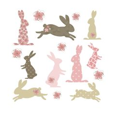 Bunny wall stickers - Pink (Large size): Amazon.co.uk: £28.99