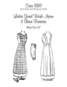 Ladies Gored Work Apron & Sleeve Protector Circa 1889 by TheWayWeWear, via Flickr
