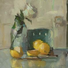 Christine Lafuente, Lemons and White Rose, 2012, oil on linen, 12 x 12 inches