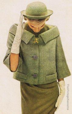 Classy 50's Look :      Picture    Description  Andrew Arkin green herringbone tweed hip-coat    - #50s https://looks.tn/style/50s/classy-50s-look-andrew-arkin-green-herringbone-tweed-hip-coat/