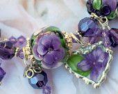 Broken China Bracelet, China Heart Charms, Handmade Lampwork Beads, Violet China, Sterling Silver