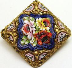 Vintage Victorian Edwardian Micro Mosaic Glass Flower Floral Pin Brooch   eBay