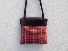 Small Red Plaid Tartan Shoulder Bag  zipper by 9thCycleCraftworks