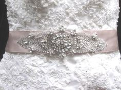 Wedding Dress Beaded Sash Crystal Belt.
