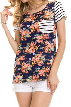 Navy Floral Shirt With Stripes & Pocket