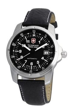Victorinox Swiss Army Unisex Automatic Watch with Black Dial Analogue Display and Black Leather Strap Cool Watches, Watches For Men, Swiss Army Watches, Victorinox Swiss Army, Automatic Watch, Black Leather, Display, Unisex, Sunglasses
