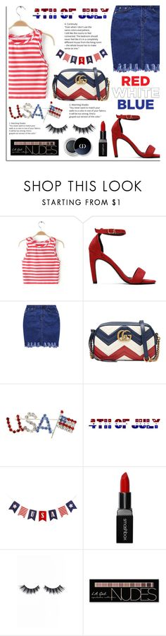 """Red, White and Blue: Celebrate the 4th!"" by dora04 ❤ liked on Polyvore featuring Gucci, Smashbox, Violet Voss, Charlotte Russe, yoins, yoinscollection and loveyoins"