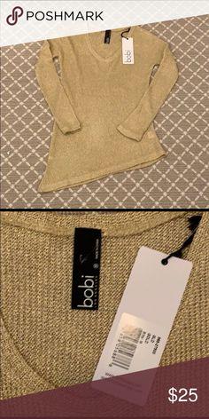 b50dc8b1f24f bobi Los Angeles Gold Sweater Gold Size medium Asymmetrical design NWT 80%  nylon 20%