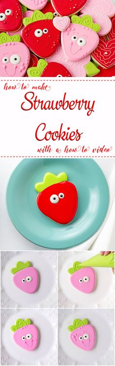 How to Make Simple Cute Strawberry Cookies with a How to Video | The Bearfoot Baker