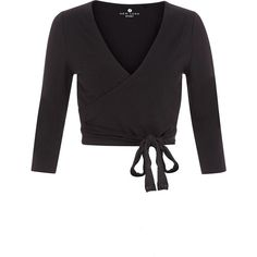 Black Sports Dance Wrap Ballet Top (20 CAD) via Polyvore featuring tops, ballet tops, sports tops, v-neck tops, sport tops and v neck wrap top