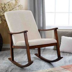Belham Living Holden Modern Rocking Chair - Upholstered - Ivory - Indoor Rocking Chairs at Hayneedle Upholstered Rocking Chairs, Wooden Rocking Chairs, Rocking Chair Cushions, Nursery Glider Chair, Rocking Chair Nursery, Home Decor Furniture, Furniture Design, Bedroom Furniture, Bedroom Chair