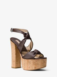 09b164623b9a Michael Kors Cecily Calf Leather Platform Sandals  platformsandals Michael  Kors Heels