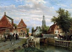 Cornelis Springer (Amsterdam 1817-1891 Hilversum) - A view of the Staal Everspijp and the Grote Kerk in summer, Enkhuizen (1866)