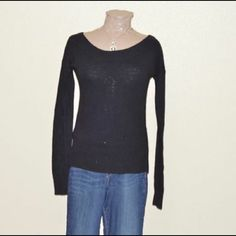 AEO Wool blend wide neck sweater Wool blend knit sweater with pointelle details at shoulder and waist. Boat neck. Warm. Gently used. American Eagle Outfitters Sweaters Crew & Scoop Necks