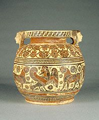A ancient Greek cosmetics container from Corinth featuring a bearded siren. (The J Paul Getty Museum)