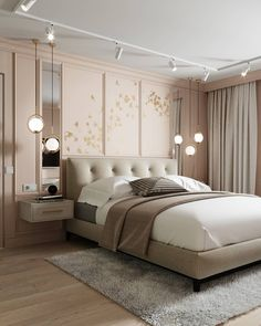 Home Room Design, Suites, Pendant Lamp, Brass Pendant, Luxurious Bedrooms, House Rooms, Home Decor Bedroom, Contemporary Design, Interior Design