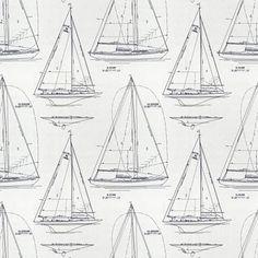 Ralph Lauren Home's Chesapeake NOV - Navy Line on White fabric